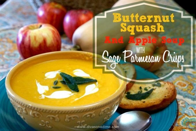 Decadently creamy, butternut squash soup with a little sweet and a little heat. Perfect for fall. Parmesan Sage Crisps and fried Sage Leaves are perfect pairings.